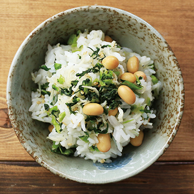 野沢菜と蒸し大豆ごはん